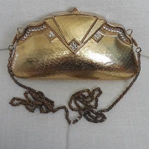 Authentic Vintage Metal Gold Purse w/ Chain strap